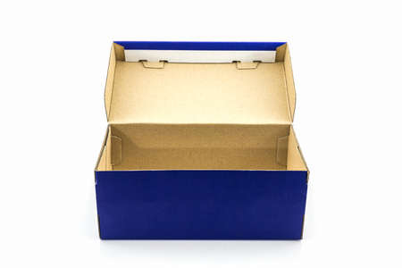 shoe box: Blue shoe box on white background. Paper box for shoes, electronic device and other products. Stock Photo