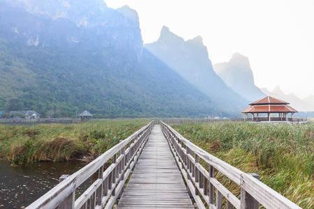 Wooden Bridge in lotus lake at Khao sam roi yod national park, Prachuap Khiri Khan, Thailand. Stock Photo