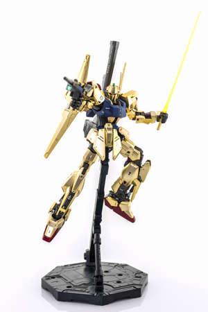 panoply: Bangkok, Thailand - July 17, 2016: Gundam model scale 1:100 produced by Bandai Japan. Gundam plastic model from anime tv series mobile suit gundam. Editorial