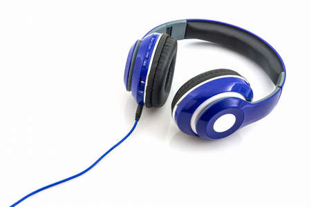 headset voice: Blue headphones on a white background. Stock Photo