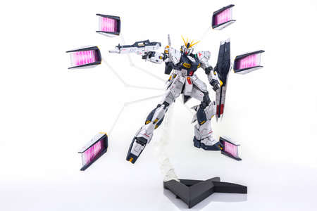 Bangkok, Thailand - July 26, 2016: Gundam model scale 1:100 produced by Bandai Japan. Gundam plastic model from anime tv series mobile suit gundam.