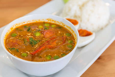 Red curry with roasted duck (Kaeng Pled Ped Yang) Thai food.