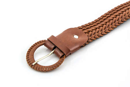 Brown leather belt for female on white background. Stock Photo