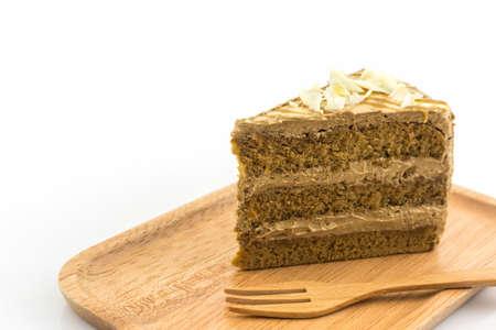 Coffee cake slice on white background. Stock Photo
