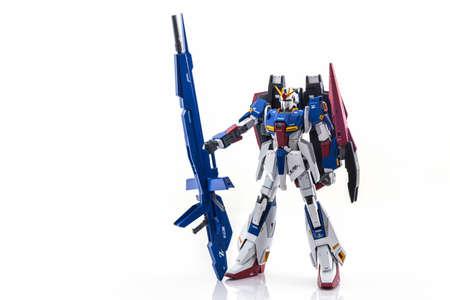 Bangkok, Thailand - October 13, 2016: Gundam model scale 1:100 produced by Bandai Japan. Gundam plastic model from anime tv series mobile suit gundam.
