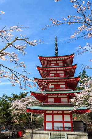 Chureito Pagoda in Arakura Sengen Shrine area is viewpoint of Mount Fuji in combination with cherry blossoms and autumn colors popular.