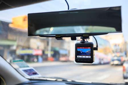 CCTV auto camera. Dash camera in de auto. Stockfoto