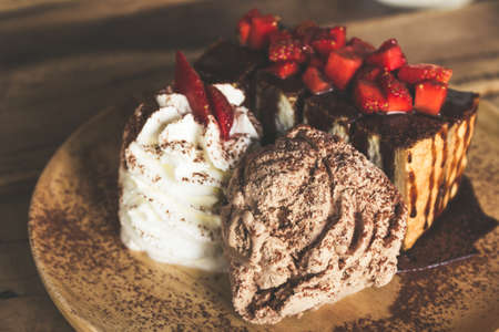 honey tone: Honey toast with fresh strawberry. Chocolate ice cream and toasted bread with strawberries.. Vintage color tone.