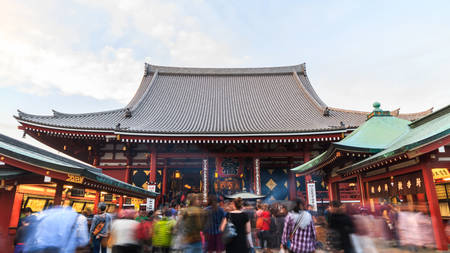 Tourist visit Sensoji, also known as Asakusa Kannon Temple. Editorial