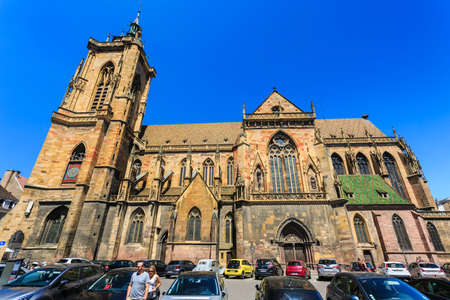 Colmar, France - May 26, 2017: Cathedral of Saint Martin (Eglise Saint Martin). The 13th-century Saint-Martin Collegiate Church is the main church and principal Gothic monument of Colmar.
