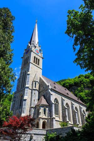 Vaduz Cathedral, or Cathedral of St. Florin in Vaduz, Liechtenstein.