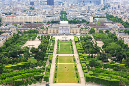 Aerial View on Champ de Mars from the Eiffel Tower. France. Reklamní fotografie - 83054313
