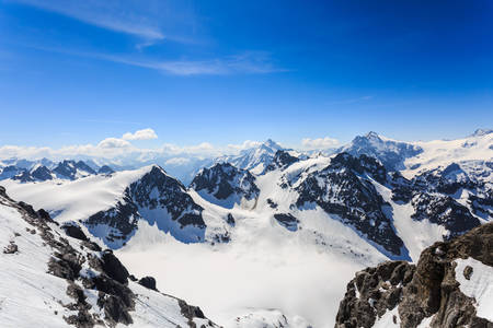 The snow mountain range mountain range from the Titlis is a mountain of the Uri Alps Engelberg, Switzerland.