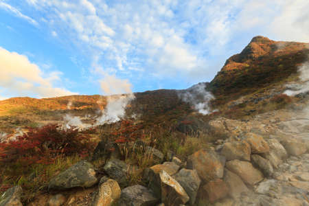 Owakudani valley, volcanic valley with active sulphur and hot springs in Hakone, Kanagawa, Japan.