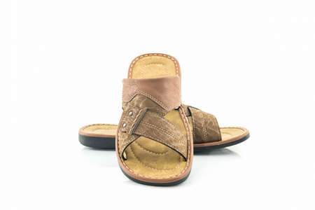 flip flops: Men brown leather sandals or flip flop shoes on white background. Stock Photo