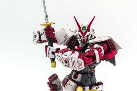 Bangkok, Thailand - October 11, 2017: Gundam model scale 1:100 produced by Bandai Japan. Gundam plastic model from anime tv series mobile suit gundam.