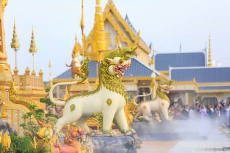 Bangkok, Thailand - November 12, 2017 :Guardian statues of Him-ma-pan forest at the royal crematorium of His Majesty late King Bhumibol Adulyadej built for the royal funeral at Sanam Luang.