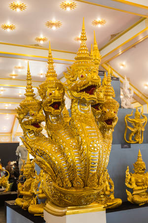 Bangkok, Thailand - November 12, 2017 :Guardian statues and animals of Him-ma-pan forest in the exhibition of The royal crematorium of His Majesty late King Bhumibol Adulyadej built for the royal funeral at Sanam Luang. Sajtókép