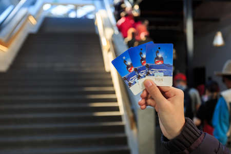 Mt. Titlis, Switzerland - May 28, 2017: Ticket from a gondola of the Rotair cable car to peak Mt. Titlis in Switzerland.