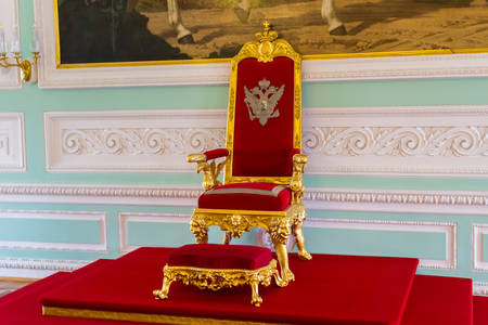 Saint Petersburg, Russia - May 2, 2018: Throne of the Peter the Great's Russian Kings in the Peterhof Palace (Petrodvorets) at St. Petersburg.