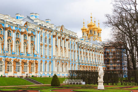 Tourists visit The Catherine Palace is a Rococo palace located in the town of Tsarskoye Selo (Pushkin), Saint- Petersburg, Russia. Editorial