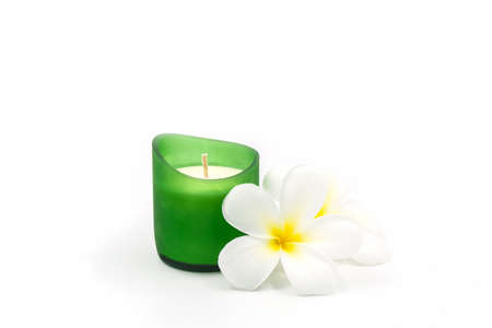 Beautiful candle for spa on white background. Banco de Imagens