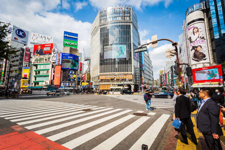 Tokyo, Japan - October 18, 2018: View of Shibuya Crossing, one of the busiest crosswalks in the world. Shibuya, Tokyo, Japan. Editoriali