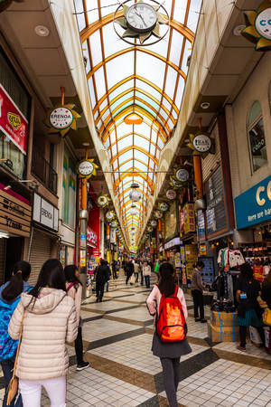 Tokyo, Japan - October 19, 2018: Nakano Broadway is a large shopping emporium just in western Tokyo is a shopping complex famous for its many stores selling anime items and idol goods, inlcuding more than a many small second hand bookstores.