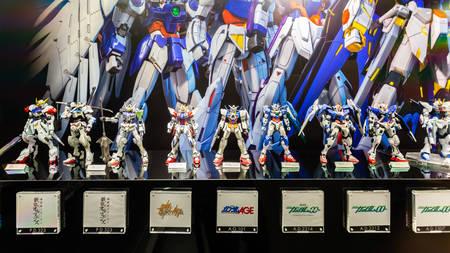 Tokyo, Japan - October 18, 2018: The display of plastic model Mobile Suit Gundam in Gundam shopping center called