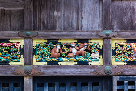 Famous three Wise Monkeys at the Nikko Toshogu Shrine temple in Nikko, Japan.