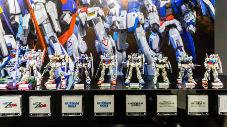Tokyo, Japan - October 18, 2018: The display of plastic model Mobile Suit Gundam in Gundam shopping center called