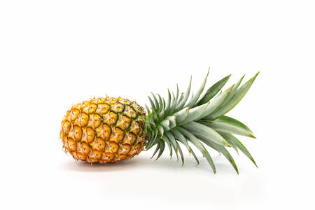 Single whole pineapple with green leaves isolated on white background. Reklamní fotografie