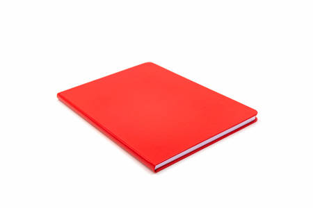Close up red leather notebook isolated on white background.