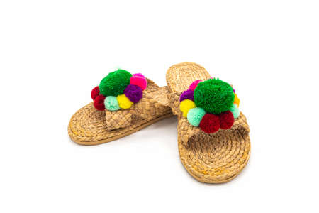 Sandals shoes handicraft made by water hyacinth on white background. Flip flops handmade.