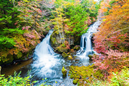Ryuzu Falls in autumn season at Nikko national park, Nikko, Japan.