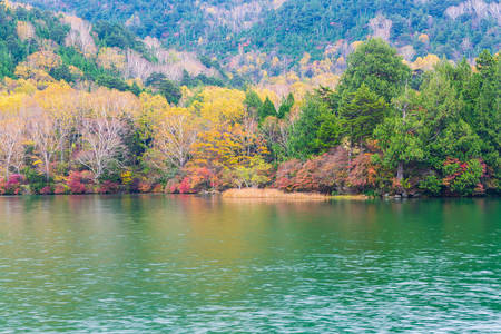View of Yunoko lake in autumn season at Nikko national park, Nikko, Tochigi, Japan.