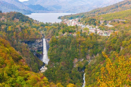 Kegon Falls and Chuzenji lake in autumn view at Akechidaira Ropeway Station, Nikko, Japan.