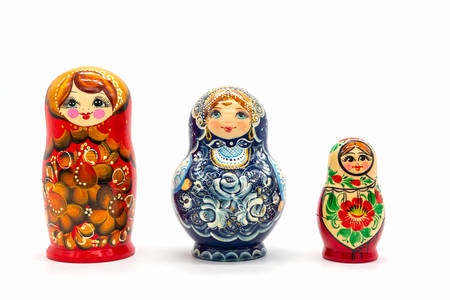 Matryoshka Dolls isolated on a white background. Russian Wooden Doll Souvenir. Russian nesting dolls, stacking dolls. Reklamní fotografie
