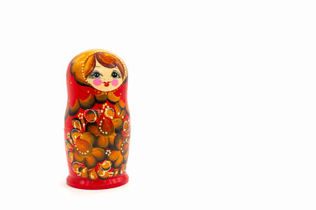 Matryoshka Dolls isolated on a white background. Russian Wooden Doll Souvenir. Russian nesting dolls, stacking dolls. Foto de archivo