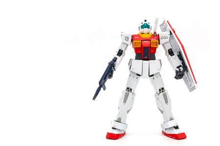 Bangkok, Thailand - September 15, 2019: Gundam scale plastic models on white background.