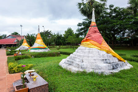 Three Pagodas Pass is a border pass to the Union of Myanmar on the border between Thailand and Myanmar, Sangklaburi, Kanchanaburi, Thailand.