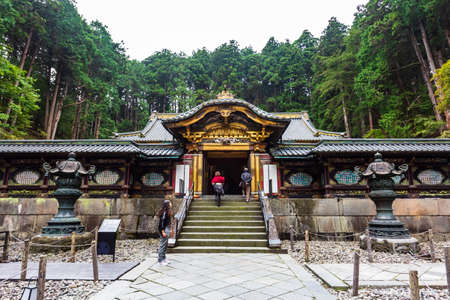 Nikko, Japan - October 15, 2018: Tourists visit of the Taiyuin temple at Nikko world heritage in autumn, Japan.