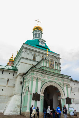 Moscow, Russia - May 4, 2018: Tourists visit The Holy Trinity-St. Sergius Lavra, Sergiev Posad, Moscow district, Russia.