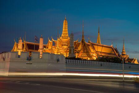 single story: Wat Phra Kaew, Temple of the Emerald Buddha at Twilight Time , Bangkok, Thailand.