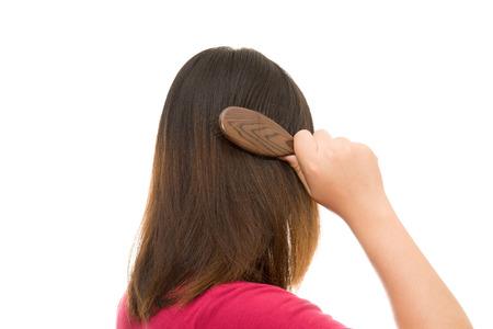 pressure loss: Asian girl worried about hair loss,Hair loss Stock Photo