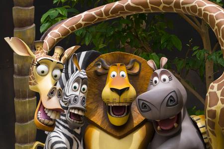 UNIVERSAL STUDIOS SINGAPORE - FEBRUARY 2 2017 : Madagascar at Universal Studios Singapore. Editorial