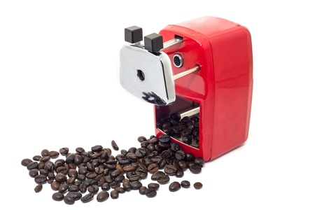 hand crank: pencil sharpener can make a coffee beans Stock Photo