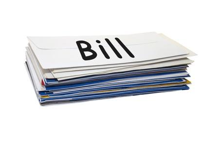 stack of mail on white background  版權商用圖片