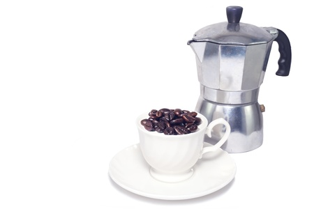 coffee beans in cup and moga pot isolate Stock Photo - 19623451