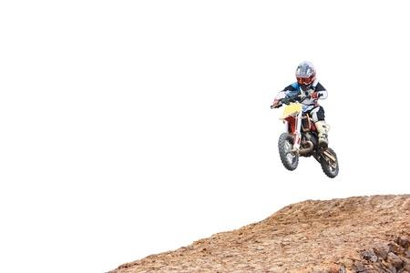young boy racing a motocross  Stock Photo
